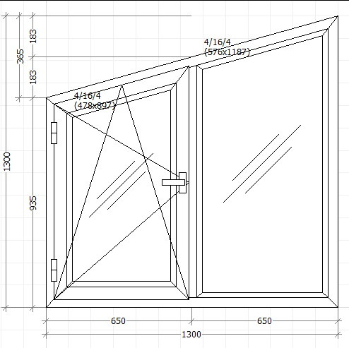 Вікно металопластикове 1300х1300мм косяк чотирьох камерне