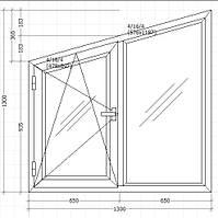 Вікно металопластикове 1300х1300мм косяк трьох камерне