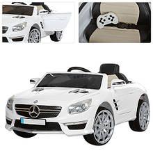 Детский Электромобиль Mercedes M 3283 EBLR белый, мягкое сиденье, пульт, колеса EVA, двери, амортизаторы