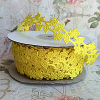 Кружевная лента цветочек вьюнок, 2см, желтый