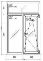 Вікно металопластикове 1100х1700мм трьох камерне