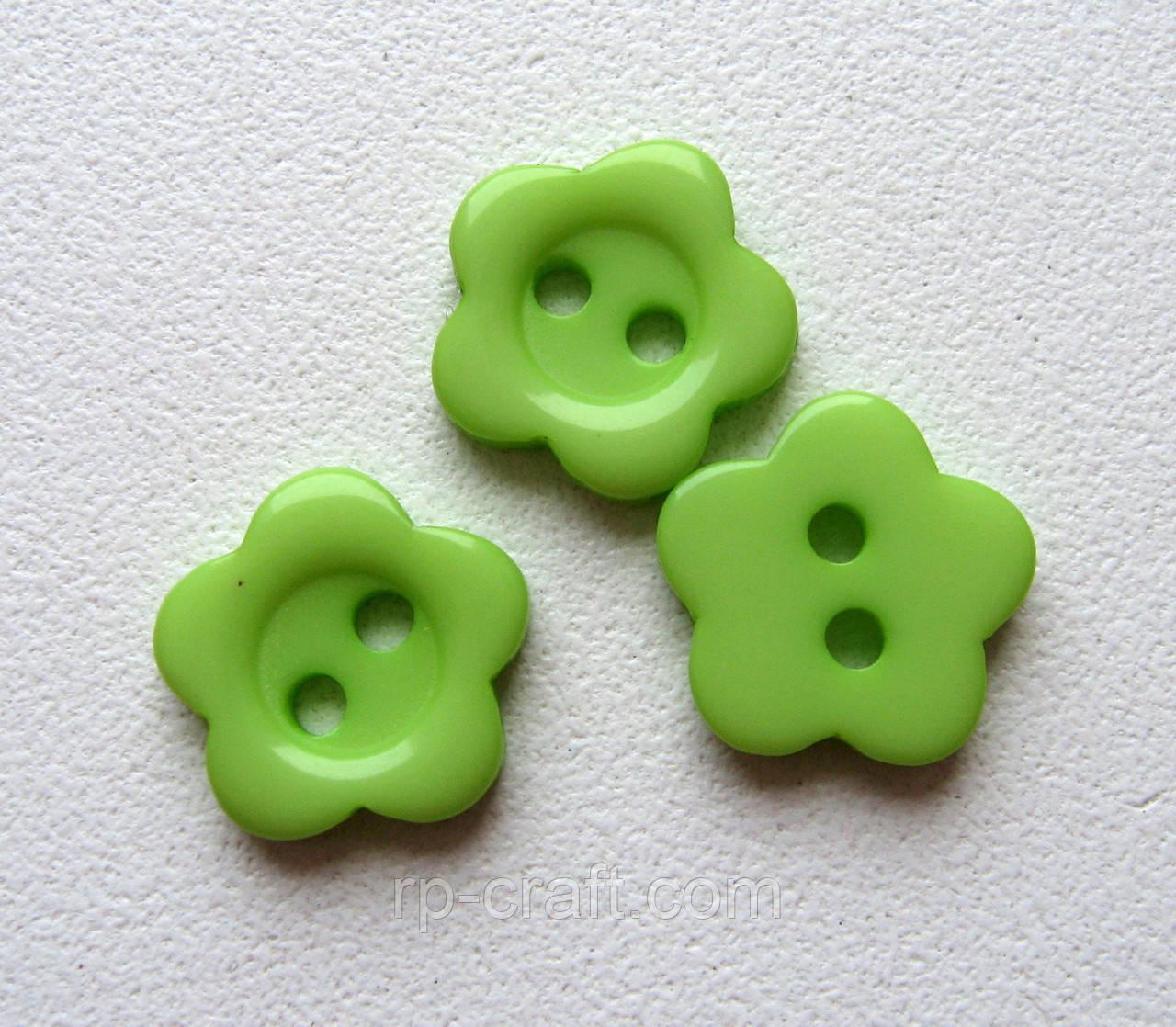 Пуговица пластиковая, декоративная, фигурная. 10 мм Цветок нежно-зеленый