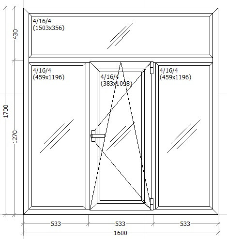 Вікно металопластикове 1600х1700мм трьох камерне