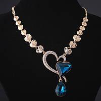 """Колье с кристаллами изгиб """"Сердца"""" синие камни под """"золото"""""""