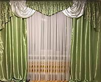 """Ламбрекен с атласными шторами """"Эвелина"""" для спальни,гостиной.На карниз 2.5 м - 3.5 м. Зелёного   цвета"""