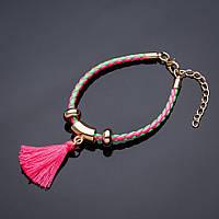 Браслет плетенка Кисточка розовая