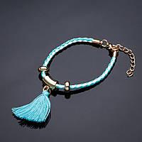 Браслет плетенка Кисточка голубая