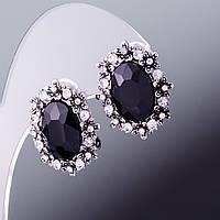 """Серьги с черными кристаллами """"Маркиз"""" сильвер"""