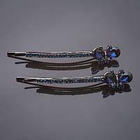 "Невидимки пара Бабочки синий кристалл синие стразы под "" серебро"" L-6см d-1,5cm"