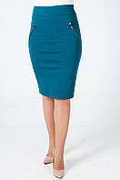 Женская трикотажная юбка с замком во всю длину сзади, Ирэн зеленого цвета