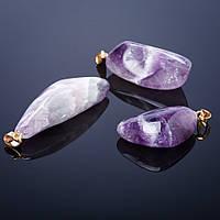 Кулон нат. Камень Аметист разная  природная  форма и размер