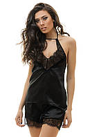 Сексуальная пижама из атласа и кружева черная S M L  XL