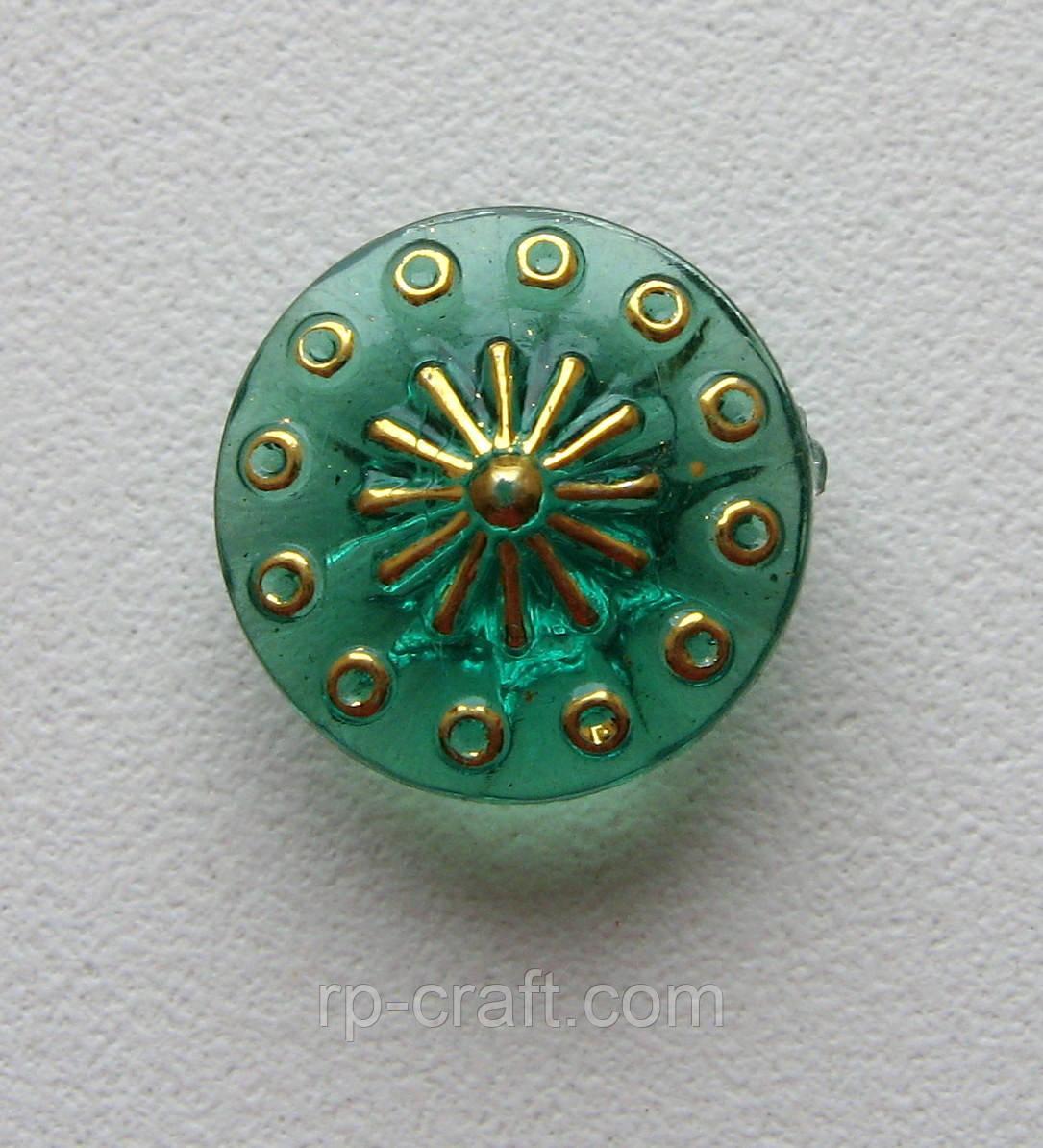 Пуговица пластиковая, круглая, с золотым рисунком, 13 мм