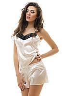 Сексуальная пижама из атласа и кружева молочный цвет S M L  XL