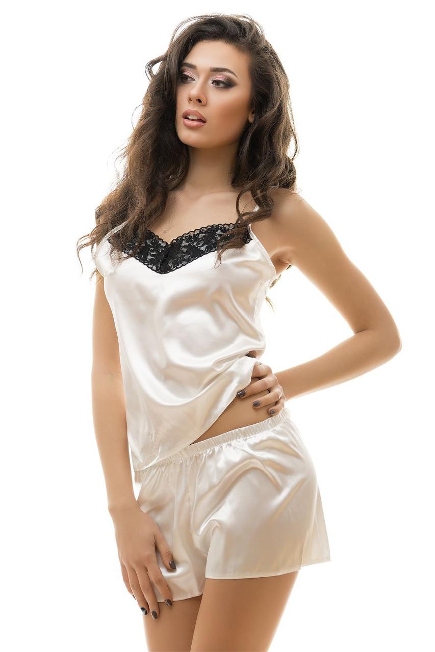 5c87bbe8d72a0 Сексуальная пижама из атласа и кружева молочный цвет S M L XL - Интернет -  магазин