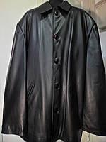 Куртка из натуральной кожи на пуговицах чёрного цвета длина-87см 66р-74р