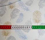 Отрез хлопковой ткани 75*150 с голубыми, серыми и коричневыми пёрышками  № 586, фото 2