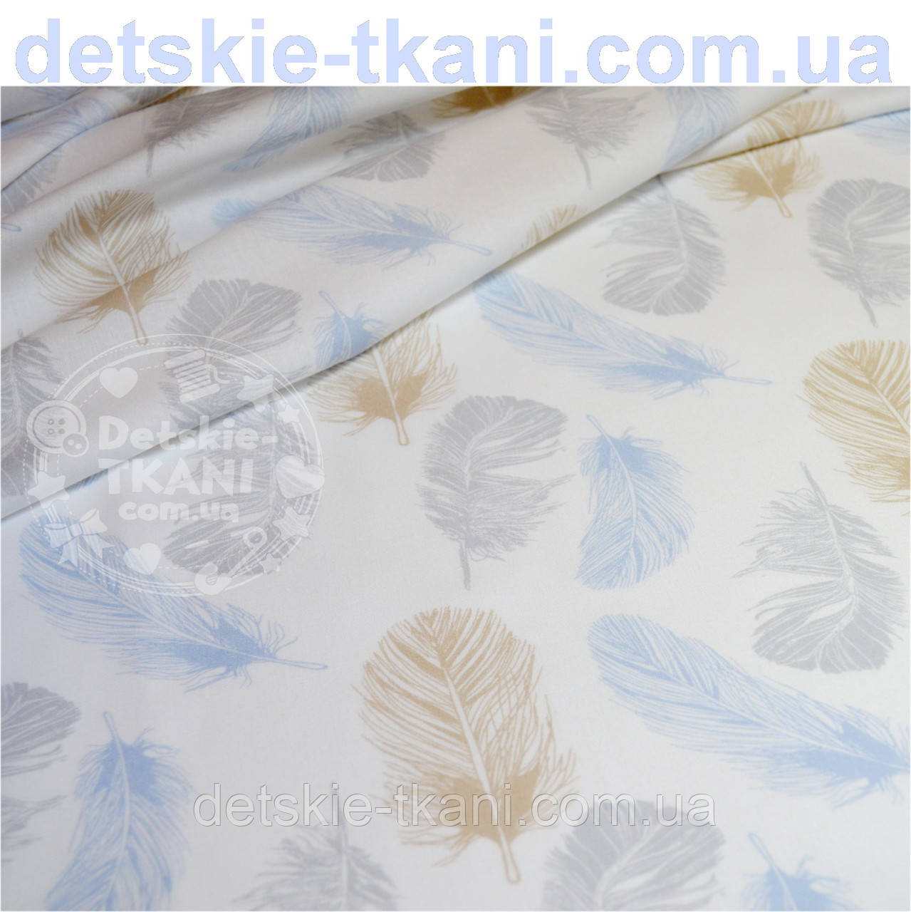 Отрез хлопковой ткани 75*150 с голубыми, серыми и коричневыми пёрышками  № 586