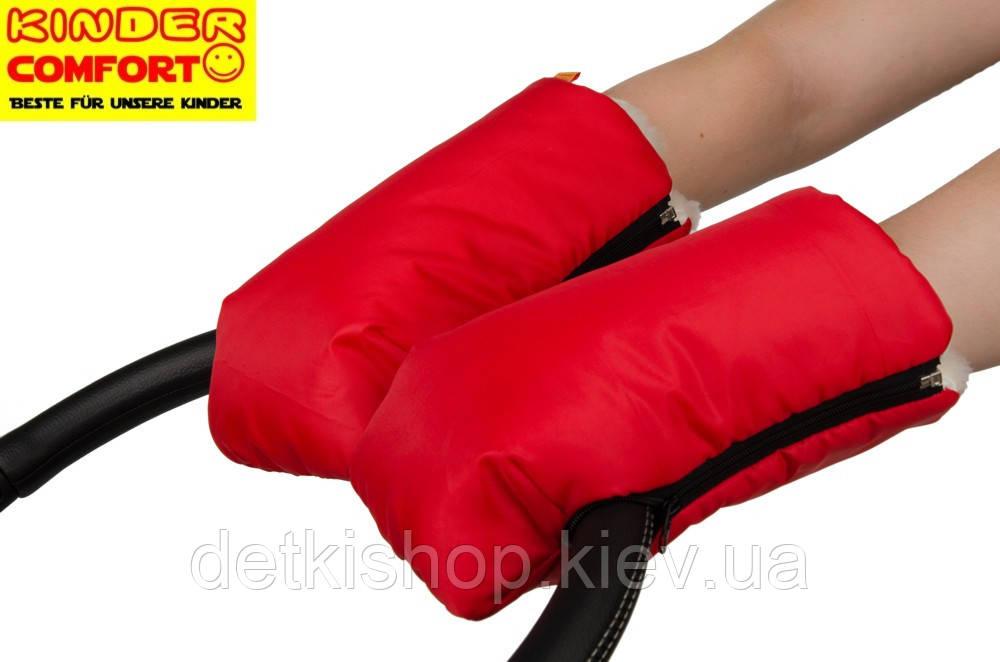 Муфта-рукавицы на овчине 3 в 1 (красная)