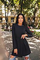 Стильное черное  пальто с карманами, пояс в комплекте. Арт-9890/79
