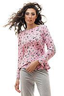 Пижама женская кофта и штаны трикотаж серо-розовый S M L  XL