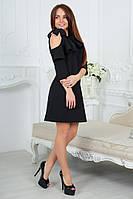 Нарядное платье с воланом и оголенным плечом в черном цвете 4051/3