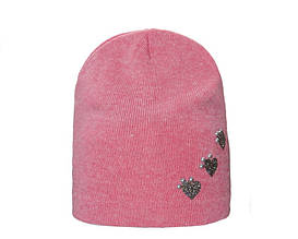 Мягкая удобная весенняя розовая шапочка с аппликацией, Польша
