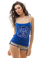 Пижама женская майка и шортики синий цвет S M L  XL