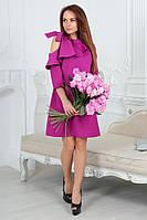 Оригинальное платье с оголенным плечом и воланом 4051