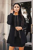 Женское черное  кашемировое пальто со змейками. Арт-9891/79