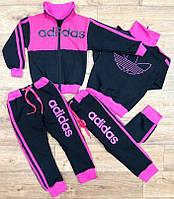 Детский Спортивный Костюм Двойка в стиле Adidas Малиновый без капюшона Рост 80-110 см