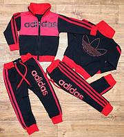 Детский Спортивный Костюм Двойка в стиле Adidas Красный без капюшона Рост 80-110 см