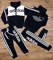 Детский Спортивный Костюм Двойка в стиле Adidas Белый без капюшона Рост 80-110 см