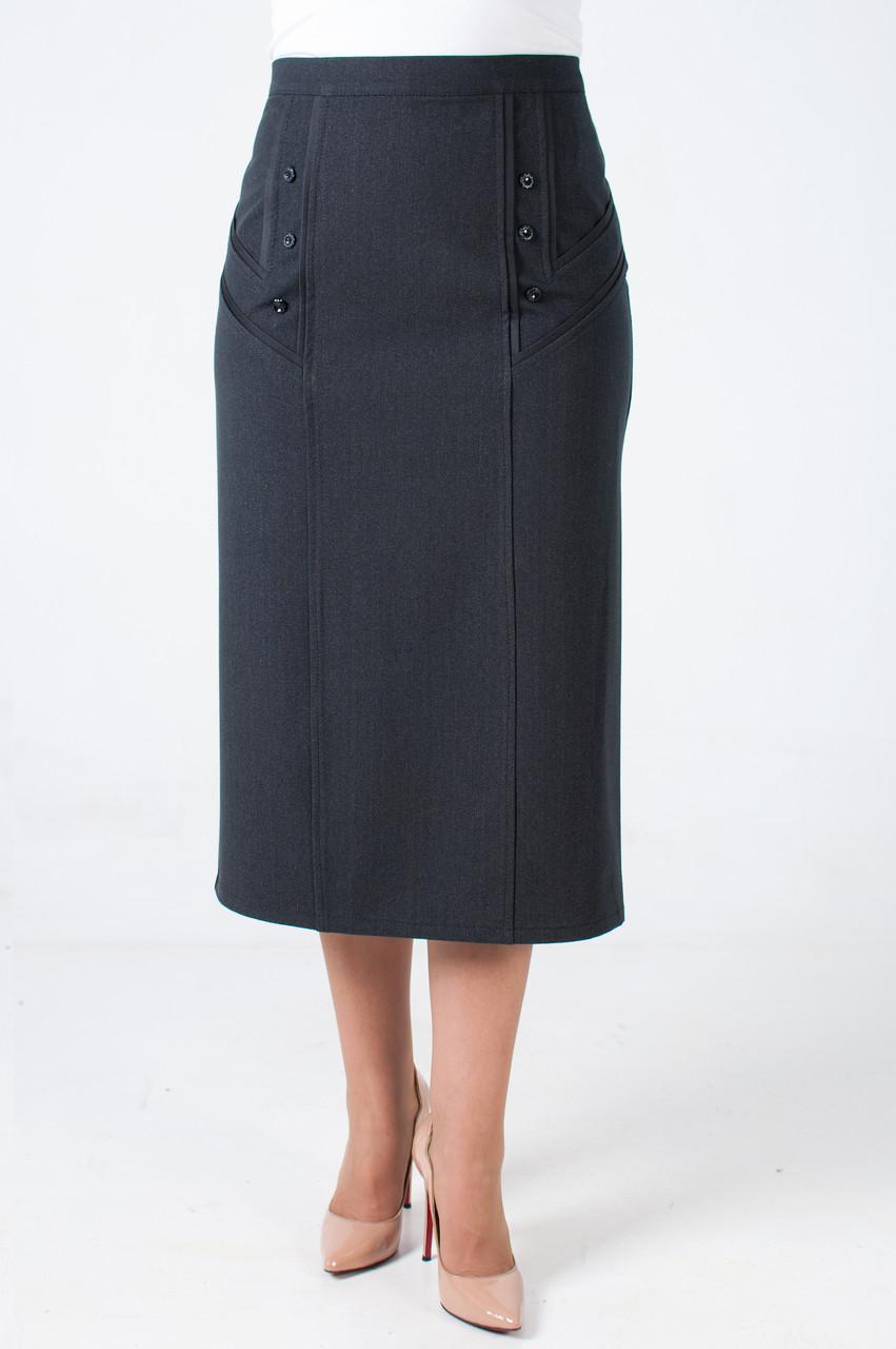 Женская прямая юбка Тэрэза серого цвета весна батал