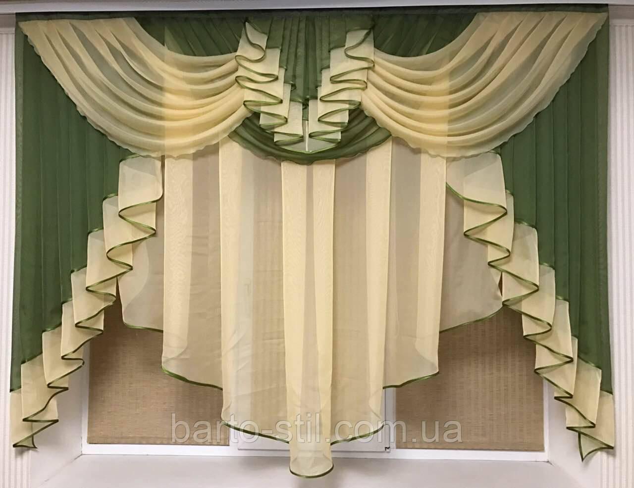 """Тюль ,Занавеска-ламбрекен """"Милена"""" на небольшое окно .Ширина 2м .Разных цветов, фото 1"""