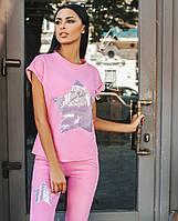 Модный женский розовый  спортивный костюм, принт- звезда из пайеток.  Арт-9893/79