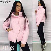 """Куртка женская Ткань : плащевка """"Канада"""", синтепон 200, цвет розовый черный  фото реал оряб №110-17"""