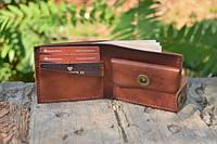 Мужской бумажник классика компакт 3019 (Коричневый Италия)