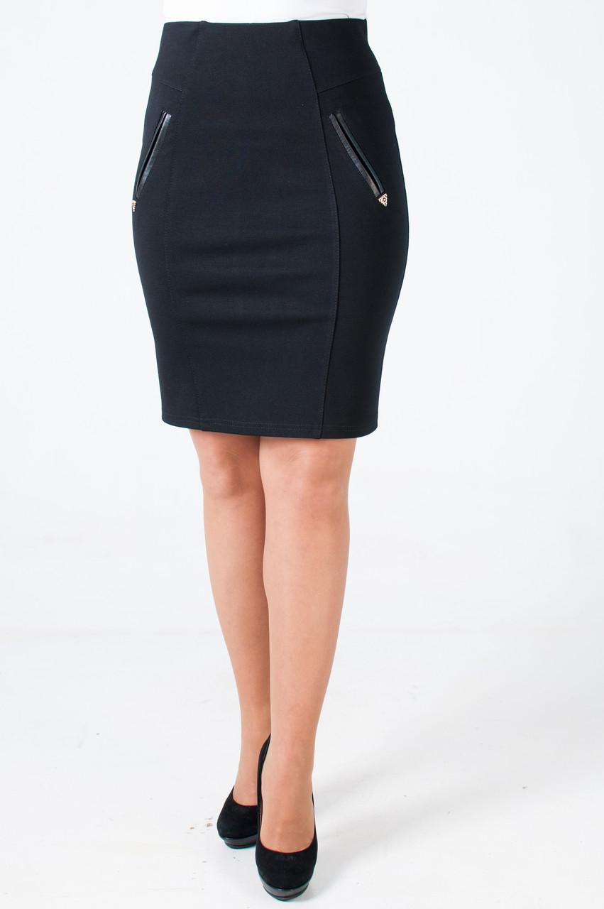 Молодежная трикотажная юбка с завышенной талией Дилси черная
