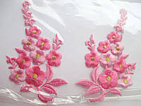 """Аплікація вишивка клейова парна """"Квіти""""яскраво рожеві, 12 см 1пара"""