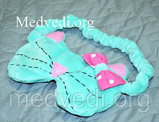 Детская повязка (маска) для сна, котик, бирюзовая, из плюша