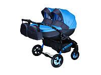 Детская коляска для двойни, Viper, голубая