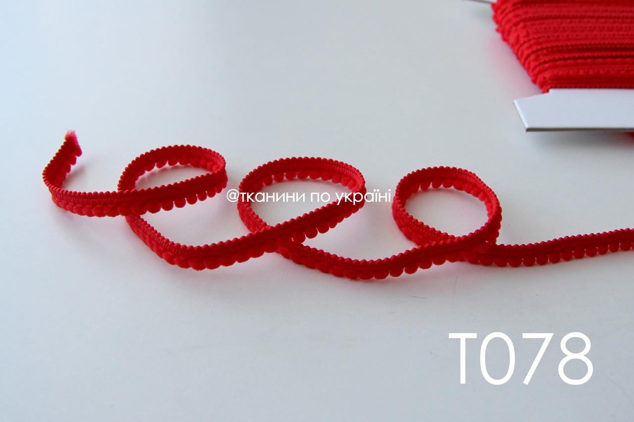 Тесьма со вставками красная 9 мм (Т078)