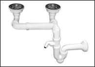 Двойной разноуровневый сифон для мойки, с отводом для стиральной машины NOVA