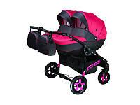 Детская коляска для двойни, Viper, розовая с серым