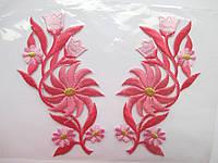 """Аплікація вишивка клейова парна """"Квіти"""" яскраво рожеві, 11-12 см 1пара"""