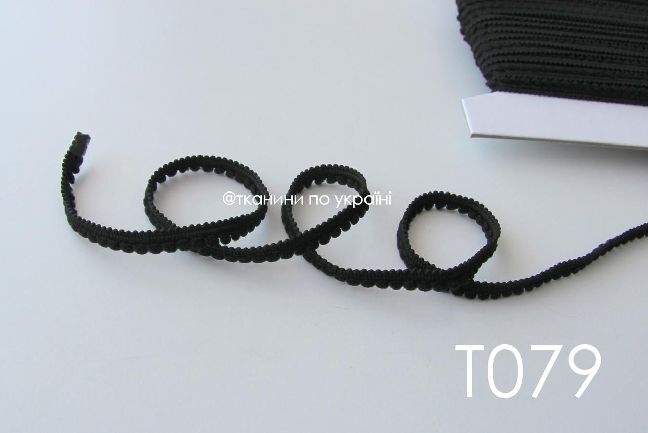 Тесьма со вставками черная 9 мм (Т079)