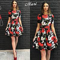 Платье клёш  цветочный принт