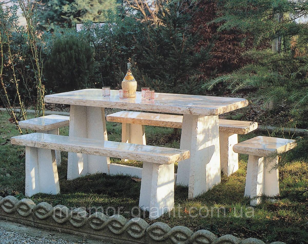 Столик с лавочками из мрамора СЛЛМ - 123