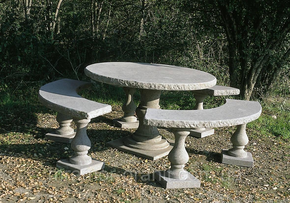Столик с лавочками из мрамора СЛЛМ - 126